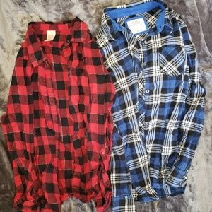 Girl's Lot of 2 Long Sleeve Flannel Shirts